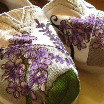Custom hand painted TOMS lavender fields by solereflections