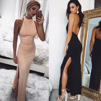 New Women Bodycon Sexy Long Maxi Dress Sleeveless Bandage Halter Solid Color Backless Party Split Side Backless