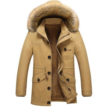 Thicker Warm Cotton-Padded Jacket Mens Jaqueta Masculina Faux Fur Hat New Men Hooded Leisure Jackets and Coats Casual Parka 5XL