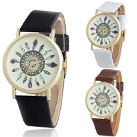 1 Piece Women Vintage Feather Dial Leather Band Quartz Analog Unique Lady Wrist Watch (With Thanksgiving&Christmas Gift Box)= 1932273028
