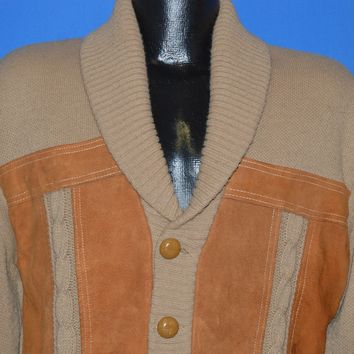 70s Faux Leather Button Front Shawl Cardigan Sweater Large