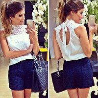 New Fashion Lady Women's Fashion Lace and Chiffon Blouse Backless Sleeveless Sexy Tops Blouse F_F
