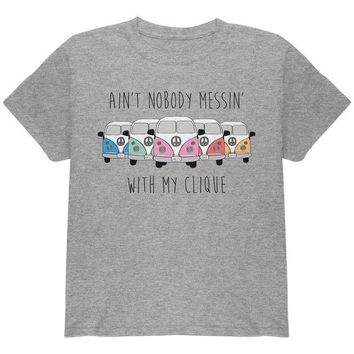 PEAPGQ9 Hippie Van Ain't Nobody Messin' With My Clique Bus Camper Youth T Shirt