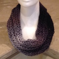 Gray Ombré Knitted Infinity Cowl Winter Scarf