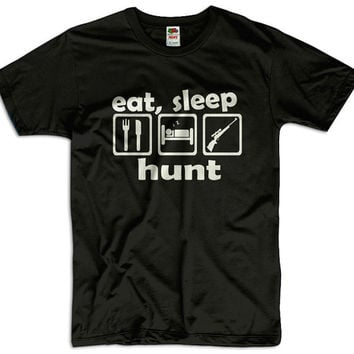 Eat, Sleep Hunt Men Women Ladies Funny Joke Geek Clothes T shirt Tee Gift Present