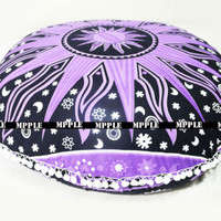 Indian handmade Sun Mandala Bohemian Ottoman Poufs Pillow Cotton Cushion Cover