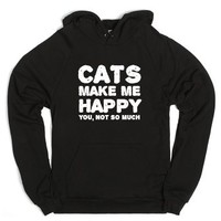 Cats make me happy-Unisex Black Hoodie