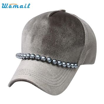 Womail Good Deal  New Fashion Women Velvet fabric Solid baseball cap Hat Adjustable Beads Hip Hop Flat Hat Gift 1PC