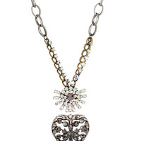 Betsey Johnson Crystal Heart Pendant Necklace
