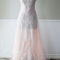 Soft Blush Elegant Romantic Woodland  Wedding Dress Featuring Embroidered Tulle and lace - ready to ship