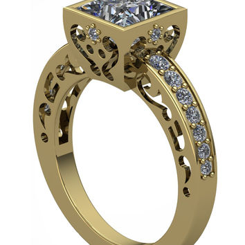 Gothic Engagement Ring Scroll Perfection in 14 k with Princess Cut White Moissanite Center 1 ct