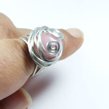 PINK QUARTZ Silver Wire Wrapped Ring, For Gift, Wedding, Summer Trends