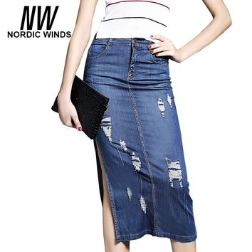 Nordic Winds Women Jeans Skirt Summer 2017 New Hole Pencil Thin Stretch Empire Pockets Skirts Blue Midi Denim Split Skirts Girls