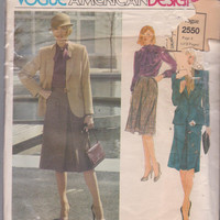 Vintage 1980s designer pattern from Joseph Picone for 3 pc suit jacket, bow blouse, pleated skirt misses size 10 Vogue 2550 WITH LABEL