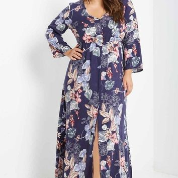 Sade Floral Button Down Maxi Dress Plus Size