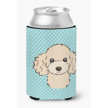 Checkerboard Blue Buff Poodle Can or Bottle Hugger BB1196CC