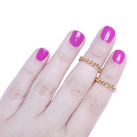 ON SALE: 2 Mid Knuckle Rings - 24k gold plated thin chain rings