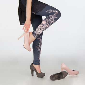 Peach bloom orchid - dark grey leggings with flower print