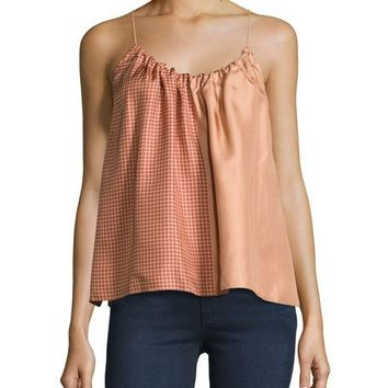 Helmut Lang Pieced Scarf-Print Silk Camisole Top, Blush/Multi