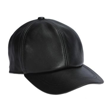 High Quality Sheepskin Hat Genuine Winter Leather Hats Baseball Cap Adjustable for Men Black Caps Free Shipping