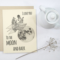 1 Happy Valentine's Day Card: Foxes on paper rocket with top hat and monocle, steampunk style, handmade card