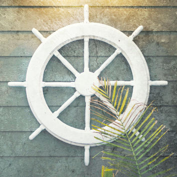Ship Wheel Nautical Decor | Coastal Decor Beach | Coastal Wall Art | Captains Wheel | Nautical Wall Decor | Rustic Nautical Decor Art Print