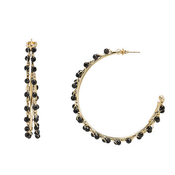 Angola Black Beaded Hoop Earrings