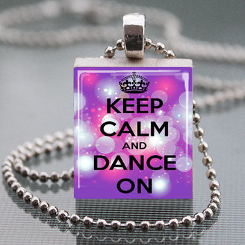 "Keep Calm and Dance on Purple  Scrabble Tile Pendant Necklace  Free 24"" chain."