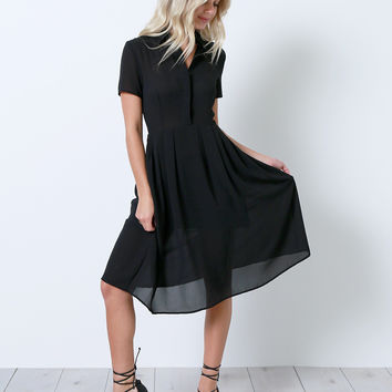 Look Back Shirt Dress - Black