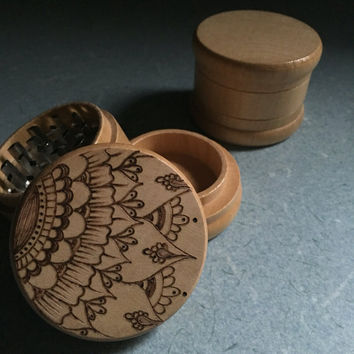 Made to Order, Woodburned Mehndi Mandala design, herb grinder