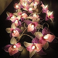 Thai Vintage White Pink Purple Orchid Flower Fairy String Lights Wedding Party Decor 3.5m. Handmade 20