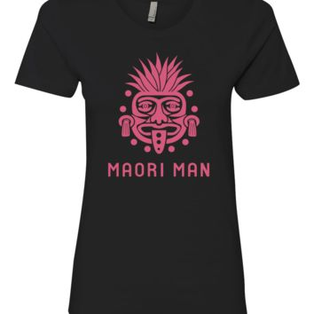 Women's Official Maori Tribesman Black Boyfriend Tee - Pink Graphics