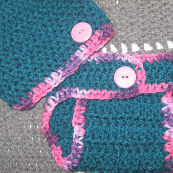 Teal Attack with Plum Pudding Trim Baby Diaper Cover and Baby Hat Set Newborn- 3 months Baby Shower Gift, Ready to Ship, Perfect Photo Prop