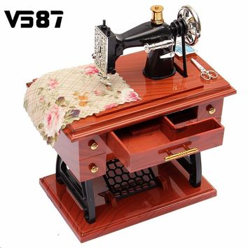 Vintage Lockwork Sewing Machine Music Box Kid Toy Treadle Sartorius Toys Retro Birthday Gift Home Decor