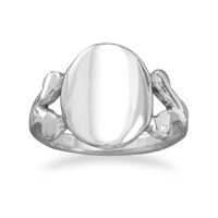 Polished Oval ID V Band Ring