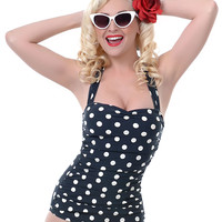 BEST SELLER! Vintage Inspired Swimsuit 50's Style Pin Up Black Polka Dot Bathing Suit - 6 to 18 - Unique Vintage - Prom dresses, retro dresses, retro swimsuits.