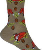 Foxes Crew Socks in Hemp Heather