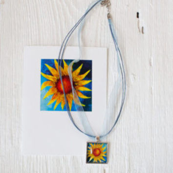"""Blue Sun"" Necklace and Card Gift Set"