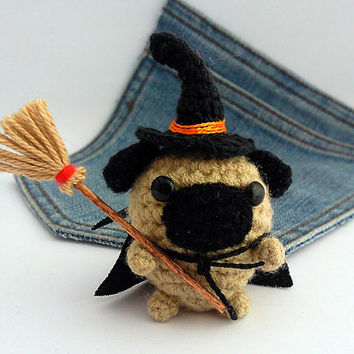 Amigurumi  Witch Pug Dog, Halloween crochet Pug. Witch Dog crochet plushie. Pug costume..
