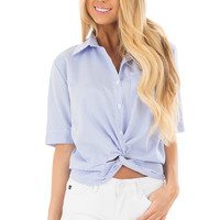 White and Sky Blue Striped Button Up Top with Front Twist