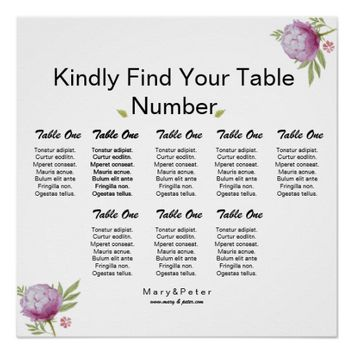 Watercolor Floral Wedding Seating Chart Poster