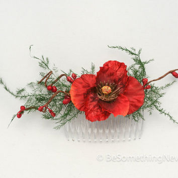 Festive Holiday Flower and Dried Fern Hair Comb Holiday Fashion Accessory Wedding Hair Comb
