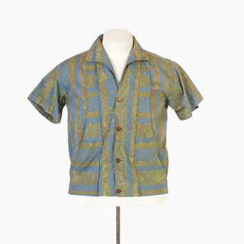 Vintage 50s SHIRT-JAC / 1950s Men's Tribal Print Cropped Hawaiian Aloha Cabana Shirt M