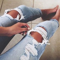 Light Blue Buttons Hollow-out Ripped Distressed Denim Long Jeans