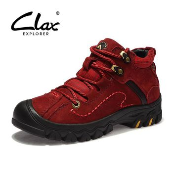 CLAX Womens Autumn Boots 2017 Genuine Leather Casual Ankle Boot Lady Walking Shoes Work Shoe Safety Boot Retro Leather Footwear