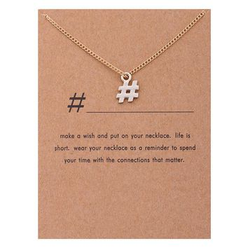 """#"" Card Alloy Clavicle Pendant Necklace   171211"
