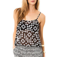 The Free Bird Top in Black Tribal Print