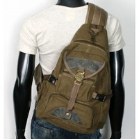 MENS RARE VINTAGE LOOK SPORTS OUTDOOR UNBALANCED MILITARY BACKPACK SLING HIKING BAG EB005 BEIGE