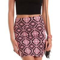 Baroque Print Bodycon Mini Skirt by Charlotte Russe