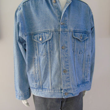 Nothing Else Is A Pepsi  - Pepsi Cola Employee Jacket Mens Size L Motorcycle Biker Trucker Western Blue Jean Jacket